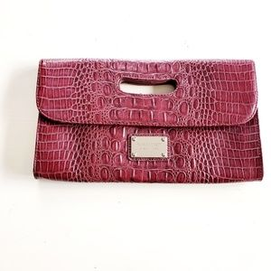 Nine West Embossed Crocodile Faux Leather Clutch